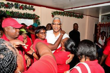 These ladies were overjoyed to have President David Granger in their midst at the Clerical and Commercial Workers Union