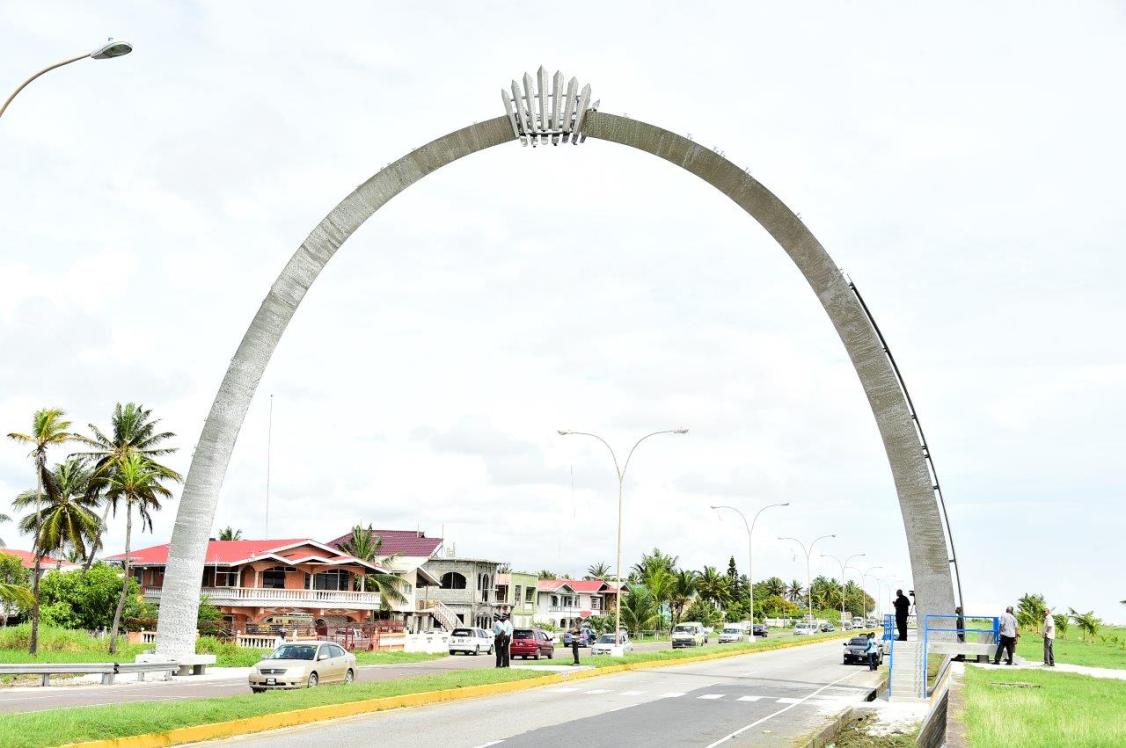 The commemorative arch at Cummings Lodge in recognition of the 50th anniversary of Guyana's Independence. The arch was donated by the Ansa McAl Group of Companies