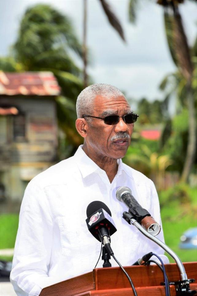 President David Granger delivering remarks at the commissioning of the Cummings Lodge Arch