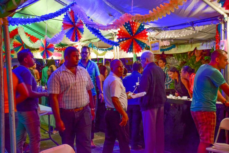 """Persons celebrating the """"Festa Junina"""" this evening at the Brazilian Embassy on Church Street"""