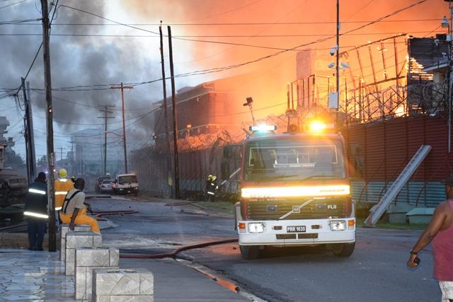 Guyana Fire Service engines on scene
