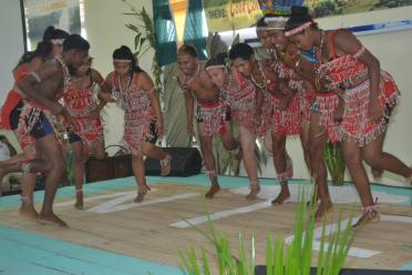 A cultural group performing at the opening of the National Toshaos Council (NTC) conference, at the Cyril Potter College of Education (CPCE)