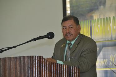 Minister of Indigenous Peoples' Affairs, Sydney Allicock during his address at the National Toshaos Council (NTC) conference, at the Cyril Potter College of Education (CPCE)