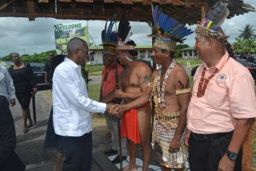President David Granger being welcomed by the executives of the National Toshaos Council (NTC) at the opening of the National Toshaos Council (NTC) conference, Cyril Potter College of Education (CPCE)