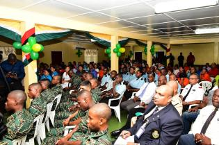 President David Granger addressing residents and members of the security forces at at a meeting in Lethem, Region Nine yesterday