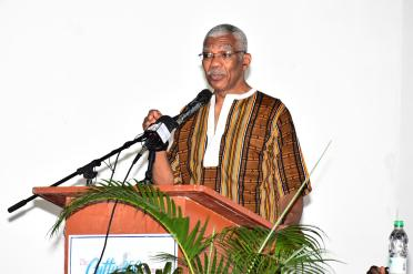 President David Granger delivering the keynote address at the Cuffy 250 Committee's Annual State of the African Guyanese Forum