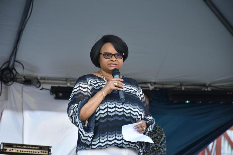 Minister of Public Health Volda Lawrence addressing the audience