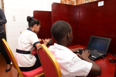 Some students utilizing the ICT Hub