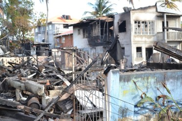 The remains of the buildings that went up in flames at Plaisance, East Coast Demerara
