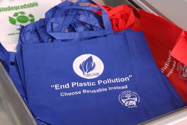 Biodegradable bags being shared at Mattai's