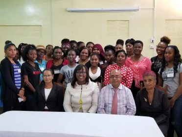 (from left to right) Administrator GWLI, Ms. Tricia Watson. Minister within the Minister of Public Health, Dr. Karen Cummings, Deputy Permanent Secretary attached to the Ministry of Social Protection, Adrian Ranrattan and Executive Member, National Congress of Women, Ann Green