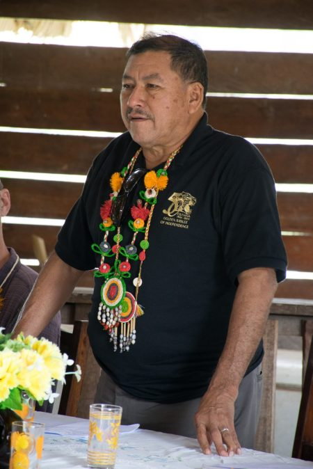 Minister of Indigenous Peoples' Affairs, Sydney Allicock addressing the residents of Moraikobai
