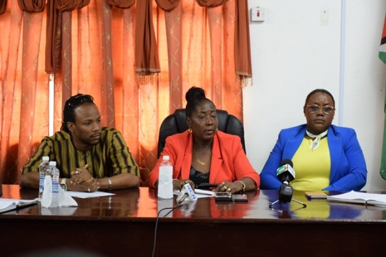 Member of Parliament Jermaine Figueira, Minister within the Ministry of Communities Valerie Adams-Patterson-Yearwood and Minister within the Ministry of Natural Resources Simona Broomes