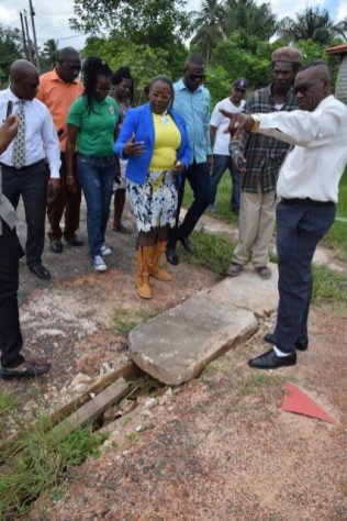 Chairman of Region Ten Rennis Morian along with Minister within the Ministry of Natural Resources Simona Broomes and her team speaking with the residents of south, Amelias Ward