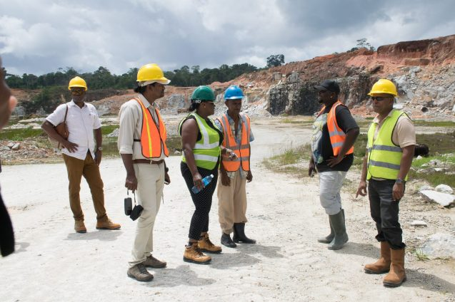 Minister Broomes and GGMC staff inspecting BK's Quarry
