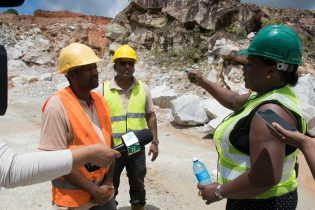 Minister Simona Broomes in discussion with Manager of Durban Quarries, Ravie, as Acting Mines Manager Krishna Ramdass looks on