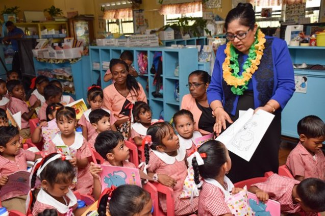Mrs. Sita Nagamootoo interacting with the students Albion Front Nursery School