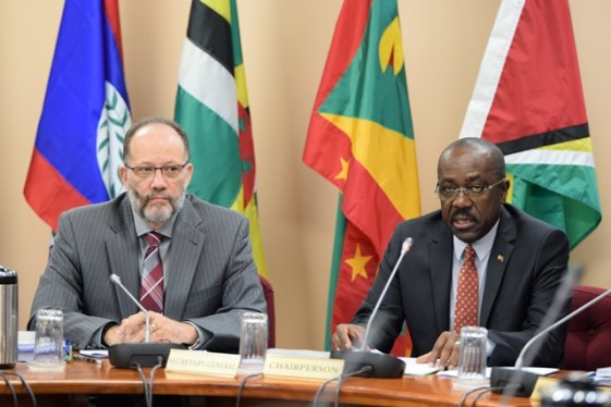 Secretary General of CARICOM, Ambassador Irwin LaRoque, and Chairman of COTED, Antigua and Barbuda Minister of Foreign Affairs, International Trade and Immigration E.P Chet Green