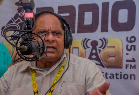 Prime Minister, Moses Nagamootoo being interviewed on Radio Mahdia.