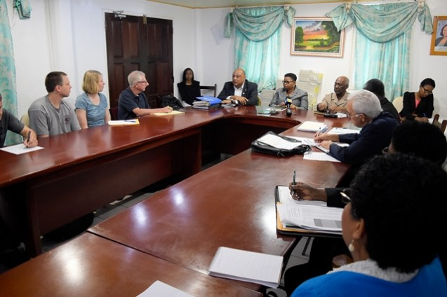 The meeting with the Ministers of Natural Resources, Raphael Trotman and Public Health, Volda Lawrence, and Minister within the Ministry of Social Protection, Keith Scott and the PAHO team.
