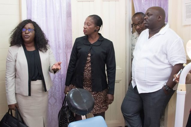 Minister within the Ministry of Public Health, Dr. Karen Cummings along with Director of Regional and Clinical Health Services, Dr. Kay Shako receives an update from Jevaughn Stephen, Director of Health Services, Region Six on the Skeldon Hospital.