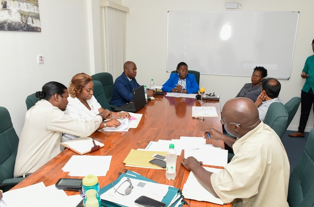 Minister within the Ministry of Natural Resources Simona Broomes speaking with Rajesh Persaud of Toolsie Persaud Ltd. and representatives of the Guyana Geology and Mines Commission.