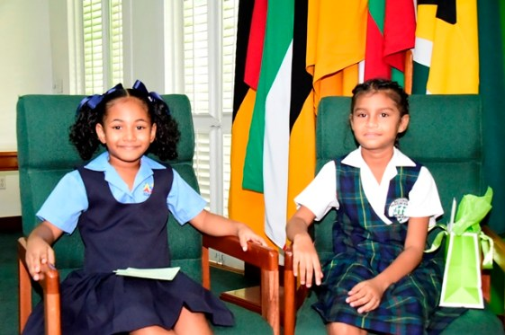Miss Kaylin Klass and Miss Eliana Ganpat on their first visit to State House.