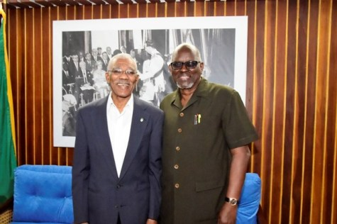 President David Granger and Chairperson of the Ethnic Relations Commission (ERC), Bishop John Smith at the Ministry of the Presidency.