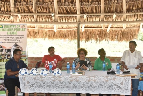 Minister within the Ministry of Indigenous Peoples' Affairs, Valerie Garrido-Lowe at the meeting at Monkey Mountain, Region Eight (Potaro-Siparuni).