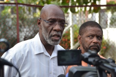 Vincent Alexander one of the Commissioner of the Guyana Election Commission (GECOM) speaking with media personnel yesterday. (Image by Jules Gibson)