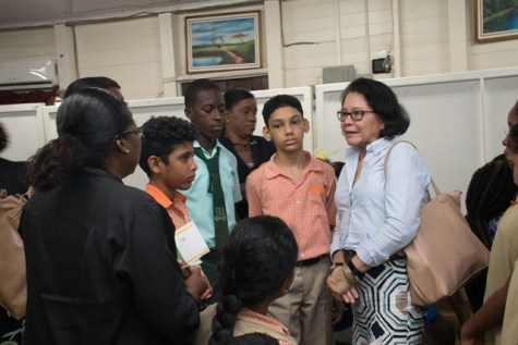 First Lady Mrs. Sandra Granger interacting with some of the students attending the event.