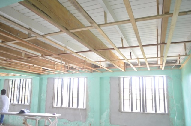 Construction work being done on the maternity ward of the residence.