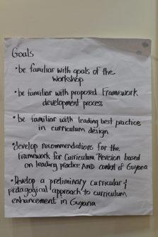 Workshop goals written during an activity