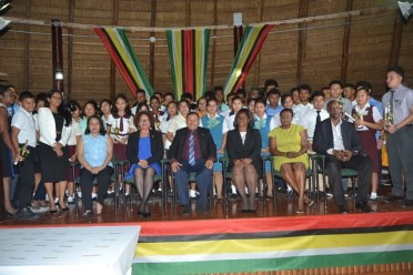 Minister of Indigenous Peoples' Affairs, Sydney Allicock, Minister within the Ministry, Valerie Garrido-Lowe, Minister of Public Affairs, Dawn Hastings-Williams, Acting Chancellor of the Judiciary, Yonette Cummings-Edwards, Permanent Secretary of the ministry, Alfred King, Deputy Permanent Secretary, Samantha Fedee along with the graduating students of the Hinterland Scholarship Programme (HSP).