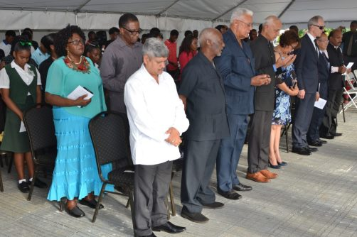 Ministers of government, the diplomatic corps, unions and relatives of the Enmore Five at the wreath laying ceremony to commemorate the Enmore Martyrs