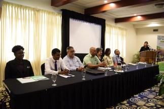Panelists at the public conversation on single-use plastics.