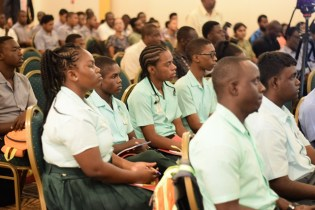 Technical Institution students attending the ASTM's lecture on codes and standards with local students.