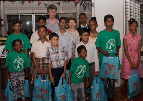 British High Commissioner to Guyana James Gregory Quinn and his wife Wendy Quinn with the winners of the art competition