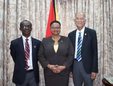 From left, Dr William Adu-Krow, Public Health Minister Volda Lawrence and Sir Trevor.