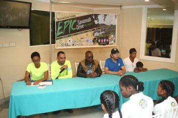(from left) Savannah Drive coordinators, Erica D'Andrade, Shane D' Andrade Yarrowkabra representative Jamie Long, Guyana Tourism Authority representative Ronald Smith and a representative from the village of Pakuri
