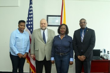 (From left) Minister within the Ministry of Public Infrastructure, Annette Ferguson. US Ambassador to Guyana, Perry Holloway, Director, MARAD, Claudette Rogers, and Minister of Public Infrastructure, David Patterson.