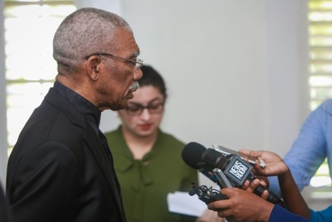 President David Granger speaking with media operative today at State House.