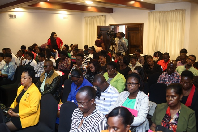 A section of those gathered at the validate workshop for the draft National Child Labour Policy, at the Herdmonston Lodge, Queenstown, Georgetown.