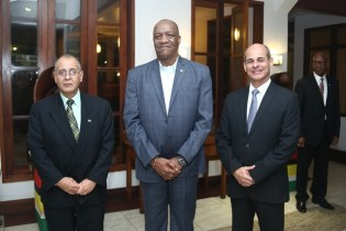 Minister of State, Joseph Harmon [centre] poses with Cuba's Ambassador to Guyana, H.E Narciso Socorro (left) and Cuba's Vice Foreign Minister, Rogelio Sierra Diaz.