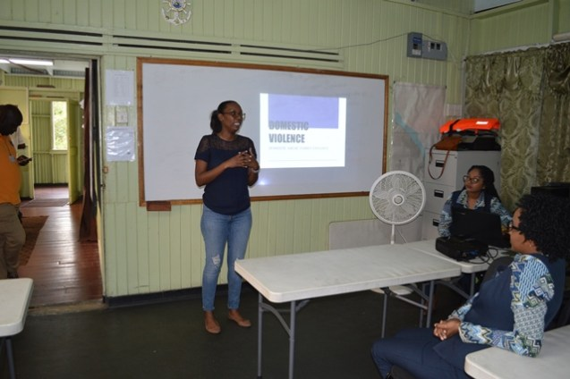 Kean Chase from Child Link Guyana during her presentation.