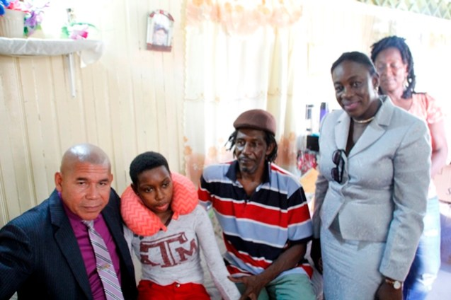 Minister of Social Cohesion, Dr. George Norton and Education Minister, Nicolette Henry visited Beyoncé Ross last Monday, to enquire about her condition, and provide the family with some support.