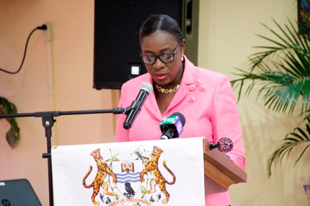 Minister of Education, Hon. Nicolette Henry addressing stakeholders at the consultation today.