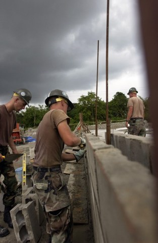 Construction works being conducted previously by the US Forces in Guyana.