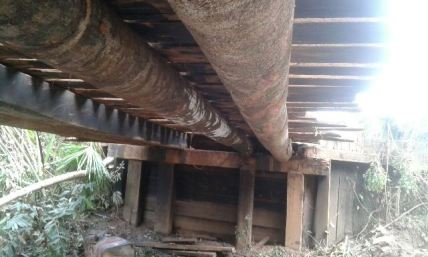 Replaced decking and beams of the bridge.