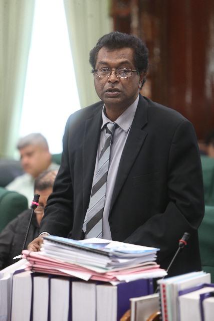 Minister of Public Security, Khemraj Ramjattam addressing the National Assembly today.